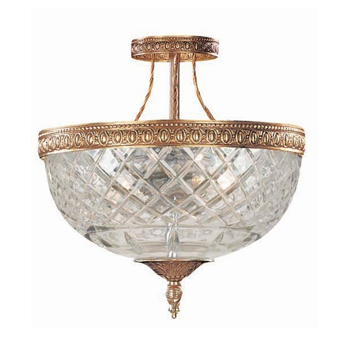 Crystorama Lighting Semi-Flushmount Light with Clear Glass in Olde Brass Finish 118-10-OB