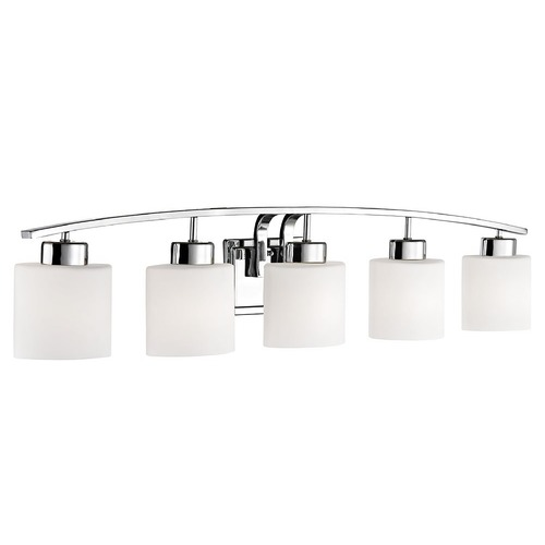 Design Classics Lighting Bathroom Wall Light with White Oval Glass - Five Lights 1385-26