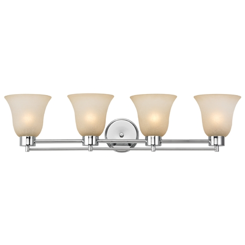 Design Classics Lighting Modern Bathroom Light with Brown Art Glass - Four Lights 704-26 GL9222-CAR