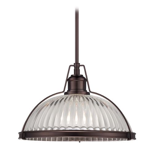 Minka Lavery Pendant Light with Clear Glass in Dark Brushed Bronze Finish 2243-267C