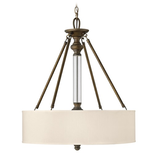 Hinkley Lighting Drum Pendant Light with Beige / Cream Shade in English Bronze Finish 4794EZ