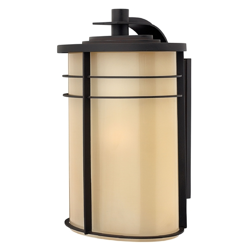 Hinkley Lighting Outdoor Wall Light with Beige / Cream Glass in Museum Bronze Finish 1129MR-GU24
