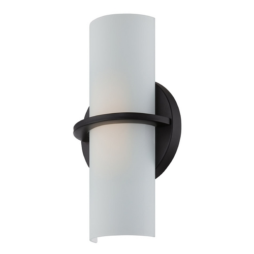 Nuvo Lighting Modern LED Sconce Wall Light with White Glass in Aged Bronze Finish 62/186