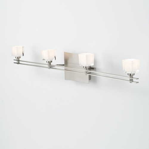 Holtkoetter Lighting Holtkoetter Modern Bathroom Light with White Glass in Satin Nickel Finish 5584 SN G5012
