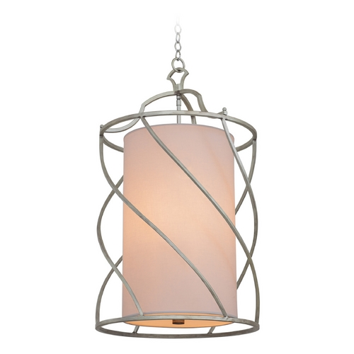 Kalco Lighting Kalco Lighting Helix Aged Silver Pendant Light with Cylindrical Shade 6419SV