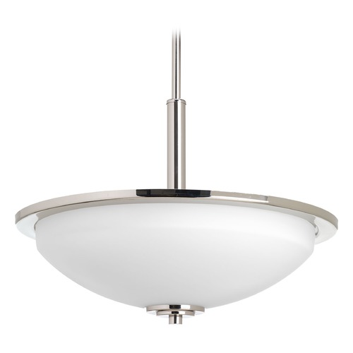 Progress Lighting Progress Lighting Replay Polished Nickel Pendant Light with Bowl / Dome Shade P3450-104