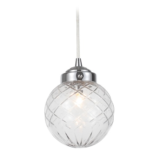 Crystorama Lighting Crystorama Lighting Essex Polished Chrome Mini-Pendant Light with Globe Shade 206-CH