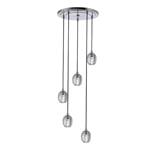 Hudson Valley Lighting Modern Multi-Light Pendant Light with Clear Glass and 5-Lights 3615-PC-B-002