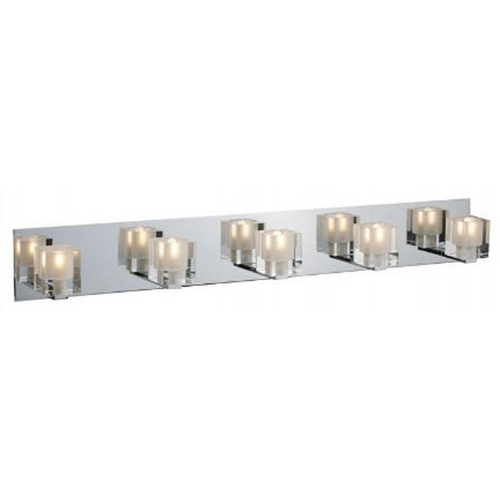 ET2 Lighting Modern Bathroom Light with Clear Glass in Polished Chrome Finish E22171-18