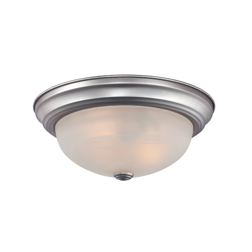 Quoizel Lighting Flushmount Light with White Glass in Brushed Nickel Finish MNR1611BN