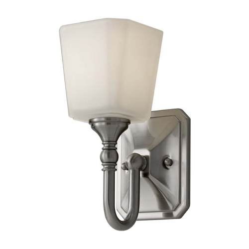 Feiss Lighting Sconce with White Glass in Brushed Steel Finish VS19701-BS