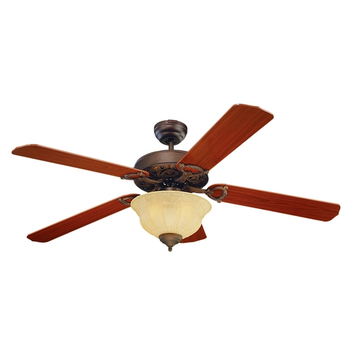 Monte Carlo Fans Ceiling Fan with Light in Bronze / Light Tea Stain Finish 5OR52RBD-L