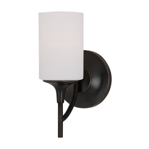 Sea Gull Lighting Modern Sconce Wall Light with White Glass in Burnt Sienna Finish 44952-710