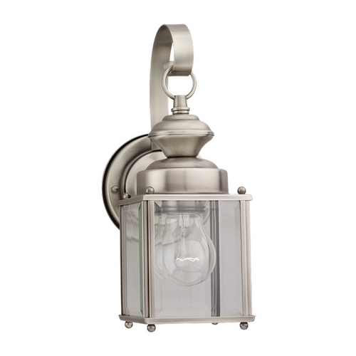 Sea Gull Lighting Outdoor Wall Light with Clear Glass in Antique Brushed Nickel Finish 8456-965