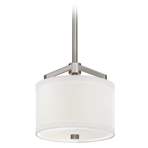 Dolan Designs Lighting Nickel Mini-Pendant with White Drum Shade Light 1881-09
