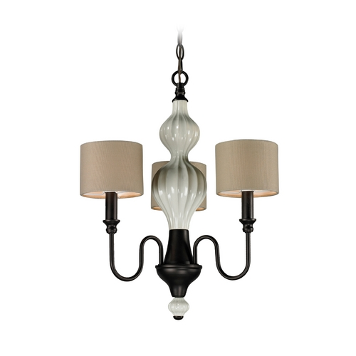Elk Lighting Mini-Chandelier with Beige / Cream Shades in Aged Bronze Finish 31373/3-LA