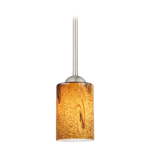 Design Classics Lighting Modern Mini-Pendant Light with Brown Art Glass 581-09 GL1001C