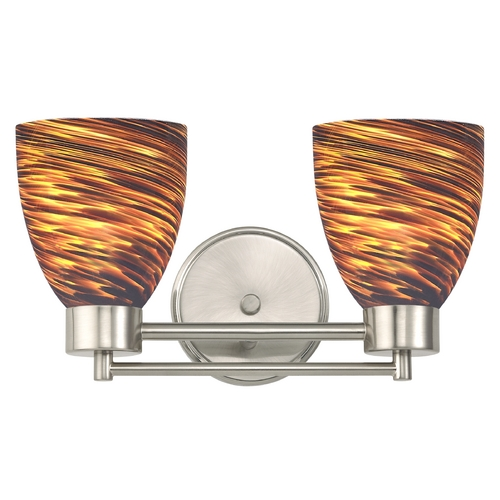 Design Classics Lighting Modern Bathroom Light with Brown Art Glass in Satin Nickel Finish 702-09 GL1023MB