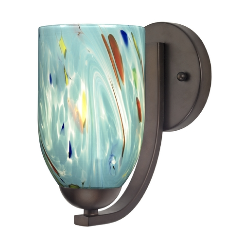 Design Classics Lighting Sconce with Turquoise Art Glass in Bronze Finish 585-220 GL1021D