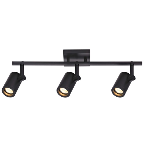 Recesso Lighting by Dolan Designs Track Light with 3 Cylinder Spot Lights - Black - GU10 Base TR0103-BK