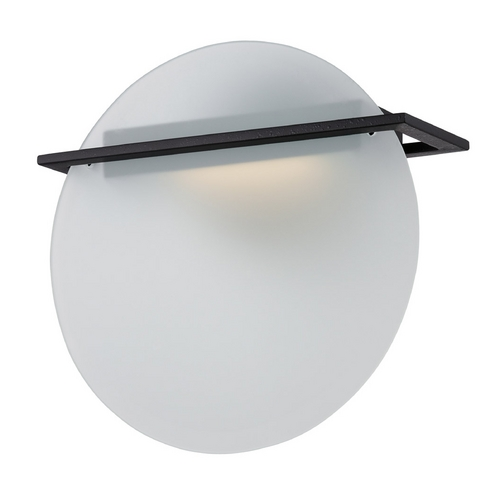Nuvo Lighting Modern LED Sconce Wall Light with White Glass in Textured Black Finish 62/187
