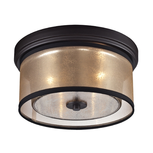Elk Lighting Flushmount Light with Beige / Cream Shades in Oil Rubbed Bronze Finish 57025/2