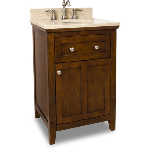 Hardware Resources Bathroom Vanity in Chocolate Finish - Pre Assembled Top and Bowl VAN090-24-T