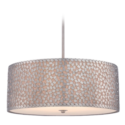 Quoizel Lighting Quoizel Confetti Old Silver Pendant Light with Drum Shade CKCF2825OS