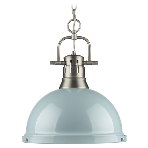 Golden Lighting Golden Lighting Duncan Pewter Pendant Light with Bowl / Dome Shade 3602-L PW-SF
