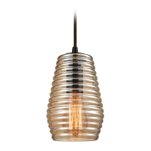 Elk Lighting Elk Lighting Ribbed Glass Oil Rubbed Bronze Mini-Pendant Light with Fluted Shade 10533/1