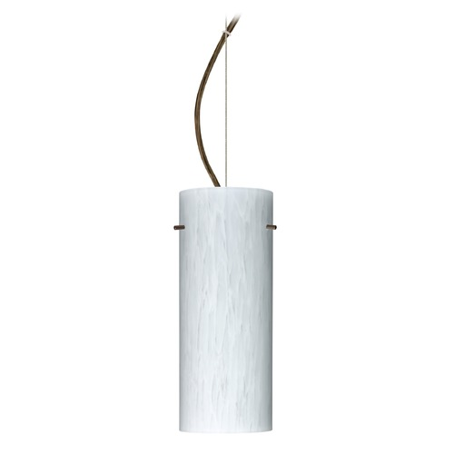 Besa Lighting Besa Lighting Stilo Bronze LED Pendant Light with Cylindrical Shade 1KX-412319-LED-BR