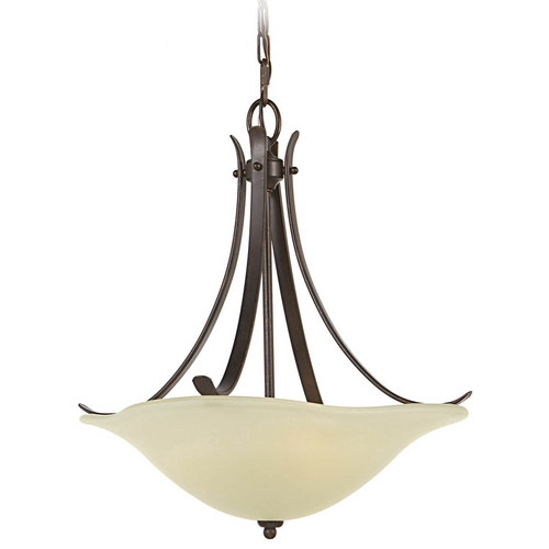 Feiss Lighting Pendant Light with Beige / Cream Glass in Grecian Bronze Finish F2045/3GBZ