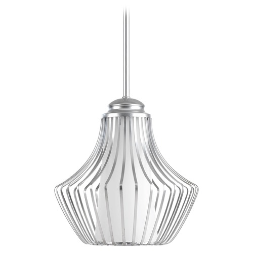 Progress Lighting Progress Lighting Finn Metallic Silver Mini-Pendant Light with Cylindrical Shade P5324-121