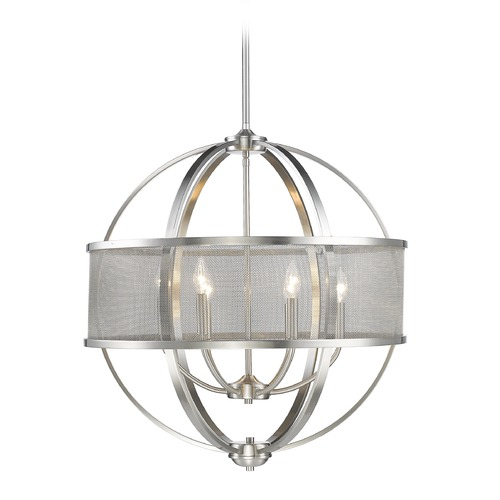 Golden Lighting Golden Lighting Colson Pw Pewter Chandelier 3167-6 PW-PW