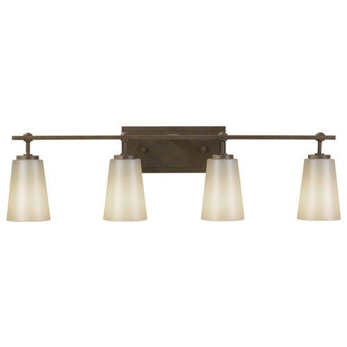 Feiss Lighting Modern Bathroom Light with White Glass in Corinthian Bronze Finish VS14904-CB