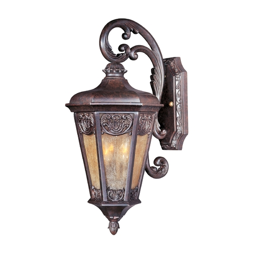 Maxim Lighting Outdoor Wall Light with Beige / Cream Glass in Colonial Umber Finish 40173NSCU
