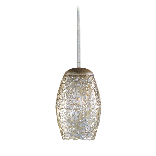 Maxim Lighting Maxim Lighting Arabesque Golden Silver Mini-Pendant Light with Cylindrical Shade 24153BCGS