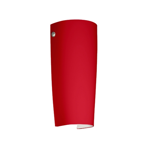 Besa Lighting Sconce Wall Light with Red Glass in Satin Nickel Finish 7041RM-SN