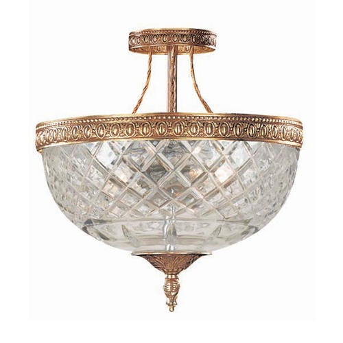 Crystorama Lighting Crystal Semi-Flushmount Light with Clear Glass in Olde Brass Finish 118-8-OB