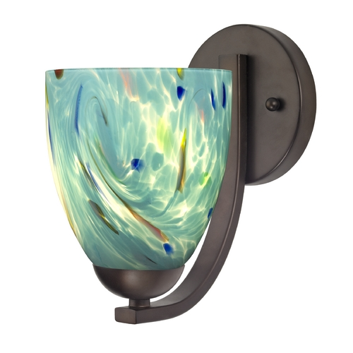Design Classics Lighting Sconce with Turquoise Art Glass in Bronze Finish 585-220 GL1021MB