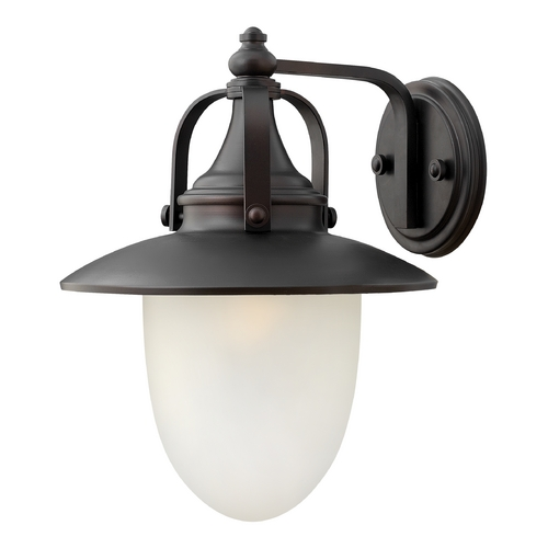 Hinkley Lighting LED Outdoor Wall Light with White Glass in Spanish Bronze Finish 2084SB-LED