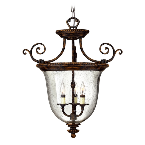 Hinkley Lighting Hanging Foyer Light with Clear Glass in Forum Bronze Finish 3713FB