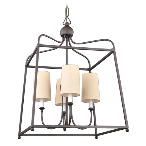 Crystorama Lighting Crystorama Lighting Sylvan Dark Bronze Pendant Light with Cylindrical Shade 2244-DB