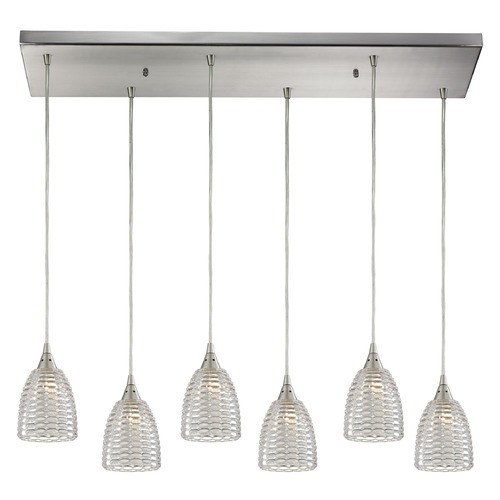 Elk Lighting Elk Lighting Kersey Satin Nickel Multi-Light Pendant with Bowl / Dome Shade 10457/6RC