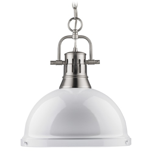Golden Lighting Golden Lighting Duncan Pewter Pendant Light with Bowl / Dome Shade 3602-L PW-WH
