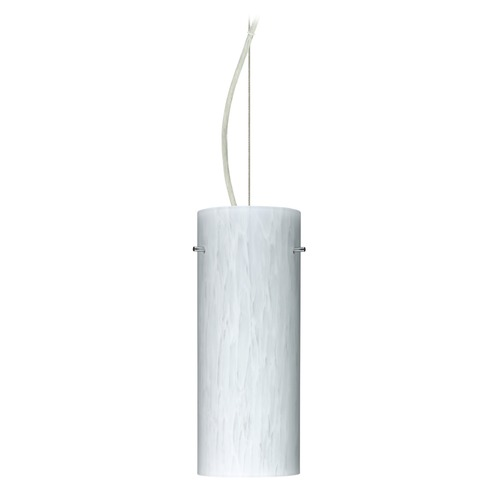 Besa Lighting Besa Lighting Stilo Satin Nickel LED Pendant Light with Cylindrical Shade 1KX-412319-LED-SN