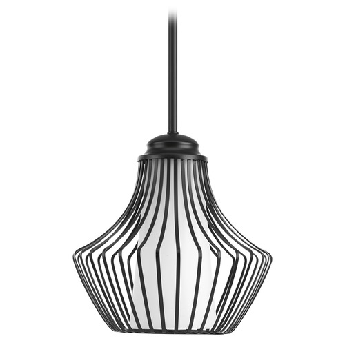 Progress Lighting Progress Lighting Finn Black Mini-Pendant Light with Cylindrical Shade P5324-31