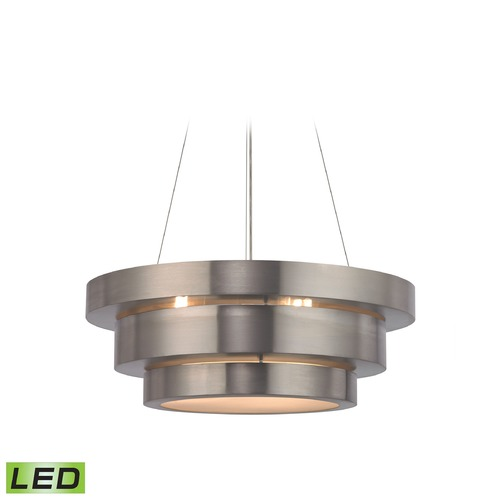 Elk Lighting Elk Lighting Layers Brushed Stainless LED Pendant Light with Drum Shade 32225/3-LED