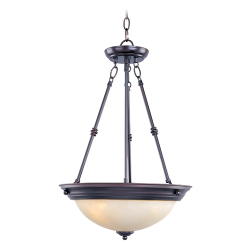 Maxim Lighting Pendant Light with Beige / Cream Glass in Oil Rubbed Bronze Finish 5845WSOI