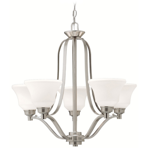 Kichler Lighting Kichler Chandelier with White Glass in Brushed Nickel Finish 1783NI